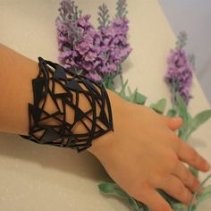 Black Leather Handmade Bracelets Cuff on Button Laser Cut bracelet Geometric Gothic Bracelet Wife gift Girlfriend Gift Gift for Her GIfts