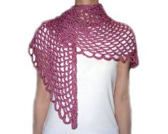 Angel Lace Scarf : The Angel Lace Scarf is simple and easy to crochet! The finished shape is triangular. The best thing is that the scarf can be worn in many different ways, even as a shawl! Skill Level: Easy
