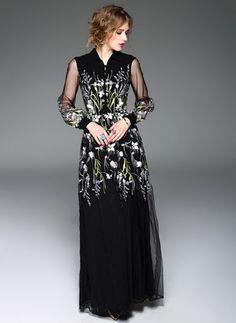 Polyester Silk Floral Long Sleeve Maxi Vintage Dresses (1018610) @ floryday.com
