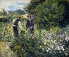 Pierre Auguste Renoir Picking Flowers oil painting reproductions for sale
