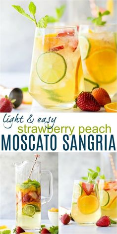 A Light & Easy Moscato Sangria filled with fresh strawberries, peaches, citrus, orange liquor and mint for one epic refreshing sip! This sweet and crisp sangria recipe is the perfect cocktail to serve all summer long! Peach Sangria Moscato, Peach Sangria Recipes, White Wine Sangria, White Sangria Recipe With Moscato, Strawberry Peach Sangria Recipe, White Wine Cocktail, Moscato Punch, Champagne Drinks, Margarita Recipes