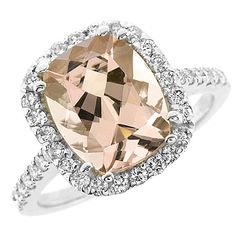 Jewelry Point - 4.40ct Peach Pink Cushion Cut Morganite Diamond Halo Cocktail Ring, $1,490.00 (http://www.jewelrypoint.com/4-40ct-peach-pink-cushion-cut-morganite-diamond-halo-cocktail-ring/)