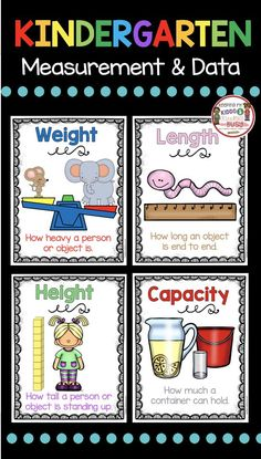 and Data Kindergarten Math Unit - FREEBIES Measurement and Data Classroom Posters - Math Vocabulary - Weight - Capacity - Height - Length Measurement Kindergarten, Measurement Worksheets, Kindergarten Math Activities, Preschool Math, Kindergarten Classroom, Teaching Math, Math Games, Measurement Games, Kindergarten Posters