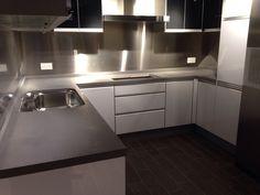 White grey kitchen countertop from conglomerate by Technistone interior design home decor