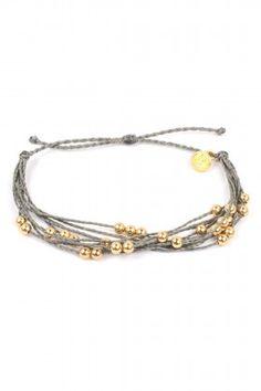 Pura Vida Bracelets Gold Beaded - Grey Bileklik: Lidyana.com