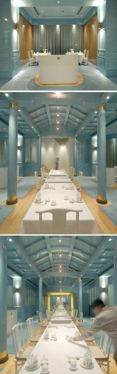 Royal China restaurant | Raffles Hotel, Singapore | singapore hotel | singapore restaurant | blue interior design | asian interior design | blue restaurant | laquered walls | blue laque