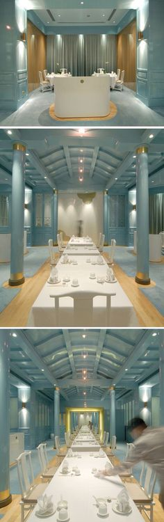 Royal China restaurant | Raffles Hotel, Singapore | singapore hotel | singapore restaurant | blue interior design | asian interior design | blue restaurant | laquered walls | blue laque