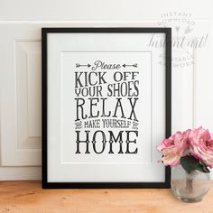 Looking for a delicate way to ask guests to remove their shoes? This PRINTABLE Please kick off your shoes, relax, and make yourself at home sign should do the trick! Immediately available to download after purchase in 5x7, 8x10, 11x14, A4 and 16x20 sizes.  ************** NEW! CUSTOMIZE YOUR OWN COLOR! ************** Convert this printable and all other black and white printables from The Crown Prints to any two colors of your choice! When you purchase black and white printables from The…