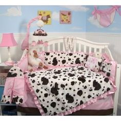SoHo Pink Moo Moo Chenille Baby Crib Nursery Bedding SET 10 Pieces ** Reversible Into 2 Designs ! **  $64.99