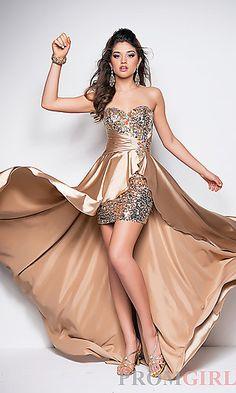 Strapless Embellished High Low Dress at PromGirl.com