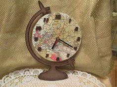 Купить Часы-глобус - часы, глобус, Декупаж, интерьер, дизайн, ручная работа, хендмейд, подарок