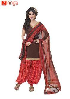 f28db801db Buy Brown plain Cotton unstitched salwar with dupatta dress-material online
