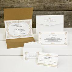 VINTAGE – EXKLUSIVE EINLADUNGS- und/oder HOCHZEITSKARTE Farben: Creme-weiß und Bronze, Papier: matt gestrichenes Feinstpapier mit schimmernder Umschlagseite wie Perlmutt, Format: 23,5 x 15,8 cm (BxH Querformat), Zubehör: Briefumschlag, zusätzliche Info-Karte, Antwort-Karte mit passendem Umschlag (auch in anderen Farb- und Papiervarianten erhältlich)