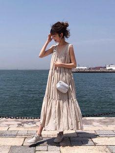Playsuit Dress, V Dress, Muslim Fashion, Korean Fashion, Girl Fashion, Fashion Dresses, Fashion Design, Minimalist Fashion Summer, Korean Dress