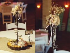 southern theme wedding centerpieces with burlap