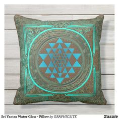 Shop Sri Yantra Water Glow - Pillow created by GRAPHICSITE. Yoga Workout Clothes, Yoga Workouts, Sri Yantra, Art Pieces, Glow, Plush, Tapestry, Throw Pillows, Blanket