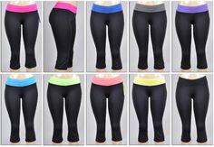 Women's Boot Cut Athletic Capri Yoga Pants - Black w/ Colored Waist Bands Case Pack 72
