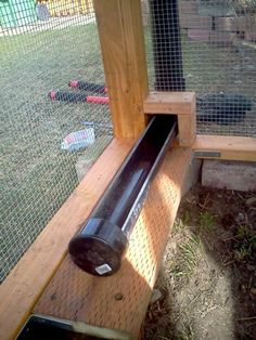 PVC Chicken Feeder - Fill from outside the coop. Holds two weeks worth of food!