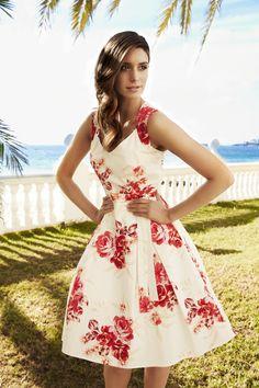 Laura Ashley Rose Print Sweetheart Neck Dress