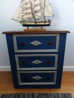 Silver Pennies: The JB Chest (Before & After) ASCP in Napoleonic Blue, Aubusson and Paris Grey with dark wax.