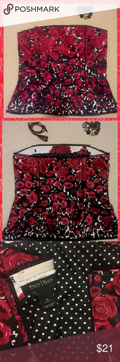 👠White House Black Market Corset 👠 👠Gorgeous Sexy Whitehouse Black Market Corset beautiful red black and white colors. Comfortable fit also come with straps if needed . It's a size 10 and it's been gently worn and loved. Non smoking environment 👠 White House Black Market Tops Blouses