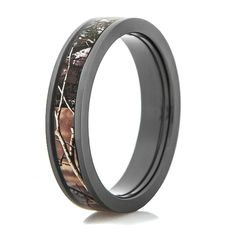 Womens Black Zirconium Camo Wedding Ring