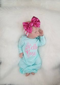 Newborn Girl Coming Home, Babay Girl coming home, Personalized Gown, Personalized Newborn, Monograme Baby Shower Gifts, Baby Gifts, Girl Gifts, Hospital Gifts, Baby Gown, Baby Girl Gowns, Baby Monogram, Monogram Baby Clothes, Girls Coming Home Outfit