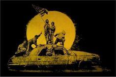 Banksy Gold Flag