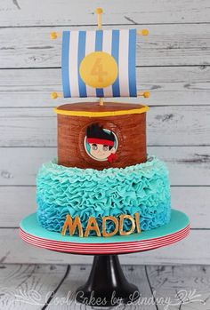 Jake and the Neverland Pirates Cake!  Buttercream ruffle waves.