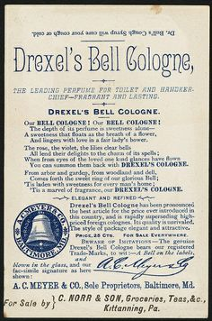 Perfumed with Drexels Bell Cologne [back] | Flickr - Photo Sharing!