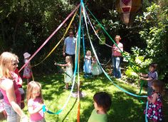 Dancing around the Maypole is lovely European tradition usually celebrating Mayday. But, in many countries, it's a dance that takes place all summer long. Now, obviously it is not May, so my version of this sweet tradition is to welcome summer and was the perfect accessory to my 3-year-old daughter's birthday party! We had so much fun dancing around the Maypole, and we know you will too! Here are some simple steps to make your very own Maypole: Supplies