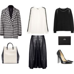 Houndstooth Coat & Leather by frontrowblog, via Polyvore
