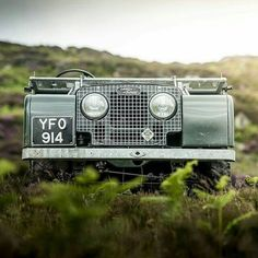 Land Rover Series with its windshield folded down