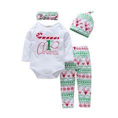 d838c3f7e Birdfly Baby Boys Girls 4 Pcs Set Christmas Design Romper Bodysuit with  Matching Pants Cap Headband Newborn Infant Casual Outfits Pajamas Moose **  Read more ...