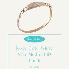 #medicalalert #jewelry #fashion #medicalid Diabetic Bracelets, Medical Id Bracelets, Life Symbol, Bracelet Sizes, Rose Gold Plates, Bangles, Jewelry, Women, Style