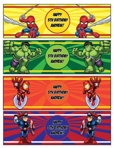 PrintableMarvel Superhero Squad Bottle Water by KidsPartiesRock, $5.00