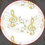 Yellow gold musical notes design.