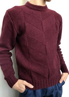 Pablo Mens Fashion Sweaters, Knitwear Fashion, Sweater Fashion, Mens Knit Sweater, Hand Knitted Sweaters, Outfits Casual, Mode Outfits, Handgestrickte Pullover, Knitting Paterns