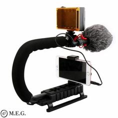 Smartphone Video Rig with Microphone and LED Light Camera Nikon, Rigs, Cool Toys, Smartphone, Led, Tripod, Cameras, Sony, Compact