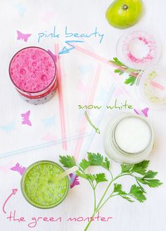 "Three juice recipes. ""The green Monster"" ""Pink Beauty"" & ""Snow White"" (raw & vegan)"