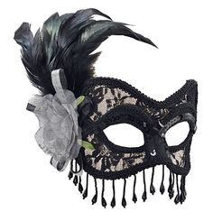 Black Lace Mask with Silver Rose - Party Packs. Perfect for a Masquerade Ball, masked Ball, Venetian Masked Ball, Mardi Gras, feathers, Phantom of the Opera, baroque party, Fancy dress masked ball, masquerade mask, eye mask More