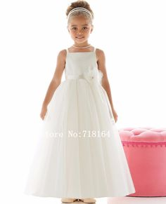 Girls fashion party flower girl dress for wedding 2017 spaghetti straps girls pageant dresses vestido longo branco