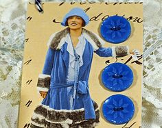 Hang Tag - Button Card - Lady in Blue - Blue Buttons - Gift Tag - Book Mark