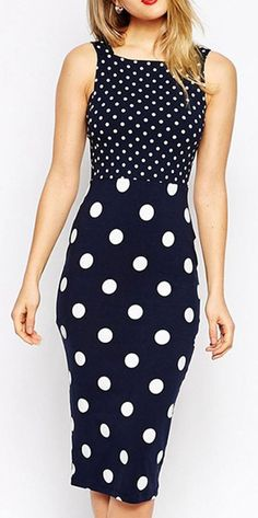 Navy Polka Dot Strappy Cut Out Back Bodycon Dress