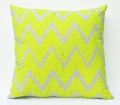 "Truly Outrageous - neon yellow and grey chevron screenprint, organic pillow, 18""x18"""