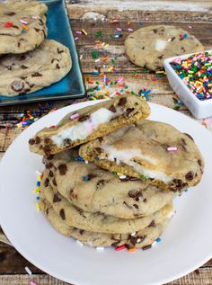 These Funfetti-stuffed chocolate chip cookies are delicious dessert treats for a party.