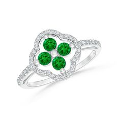 Diamond Border Emerald Clover Ring