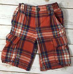 Mini Boden Red Multicolor Plaid Cargo Shorts Boys Childrens Size 5 Casual   eBay