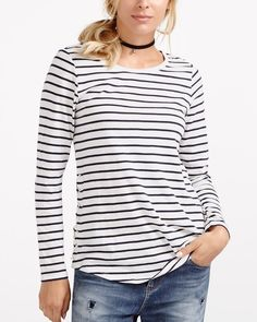 One tee, so many outfit possibilities! This Striped Tee features a round neck, long sleeves and lace-up sides. Wear it alone or under a sweater for a cozy cold-weather look.<br /><br />Ready to wear for: work, a lunch date or a casual get-together