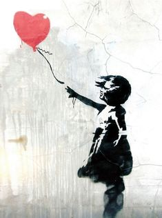 A great poster of Banksy graffiti art! A girl child reaches for a red balloon - a symbol of the loss of hope, love, or innocence. Check out the rest of our awesome selection of Banksy posters! Need Poster Mounts. Banksy Graffiti, Street Art Banksy, Murals Street Art, Street Art Poster, Banksy Posters, Arte Banksy, Graffiti Kunst, Bansky, Banksy Artwork